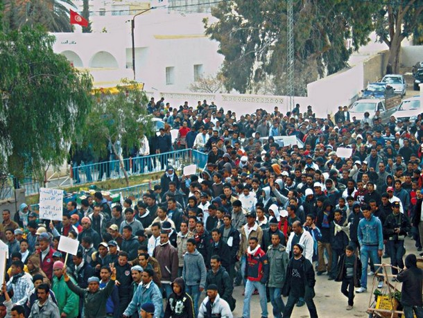 tunis jasmin revolucija mreža anarhosindikalista masa